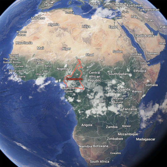 Africa Continent and location of Cameroon